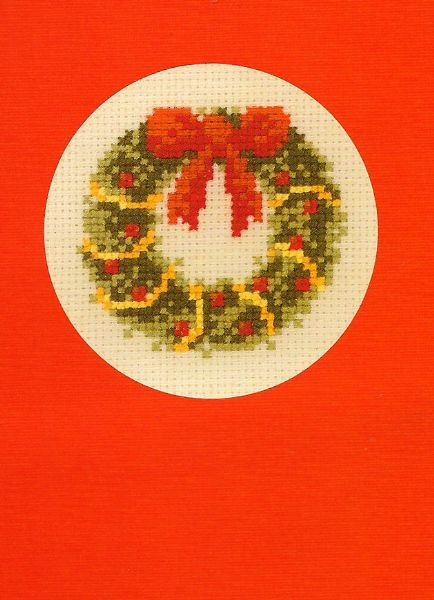 Christmas Wreath Greeting Card Cross Stitch Kit